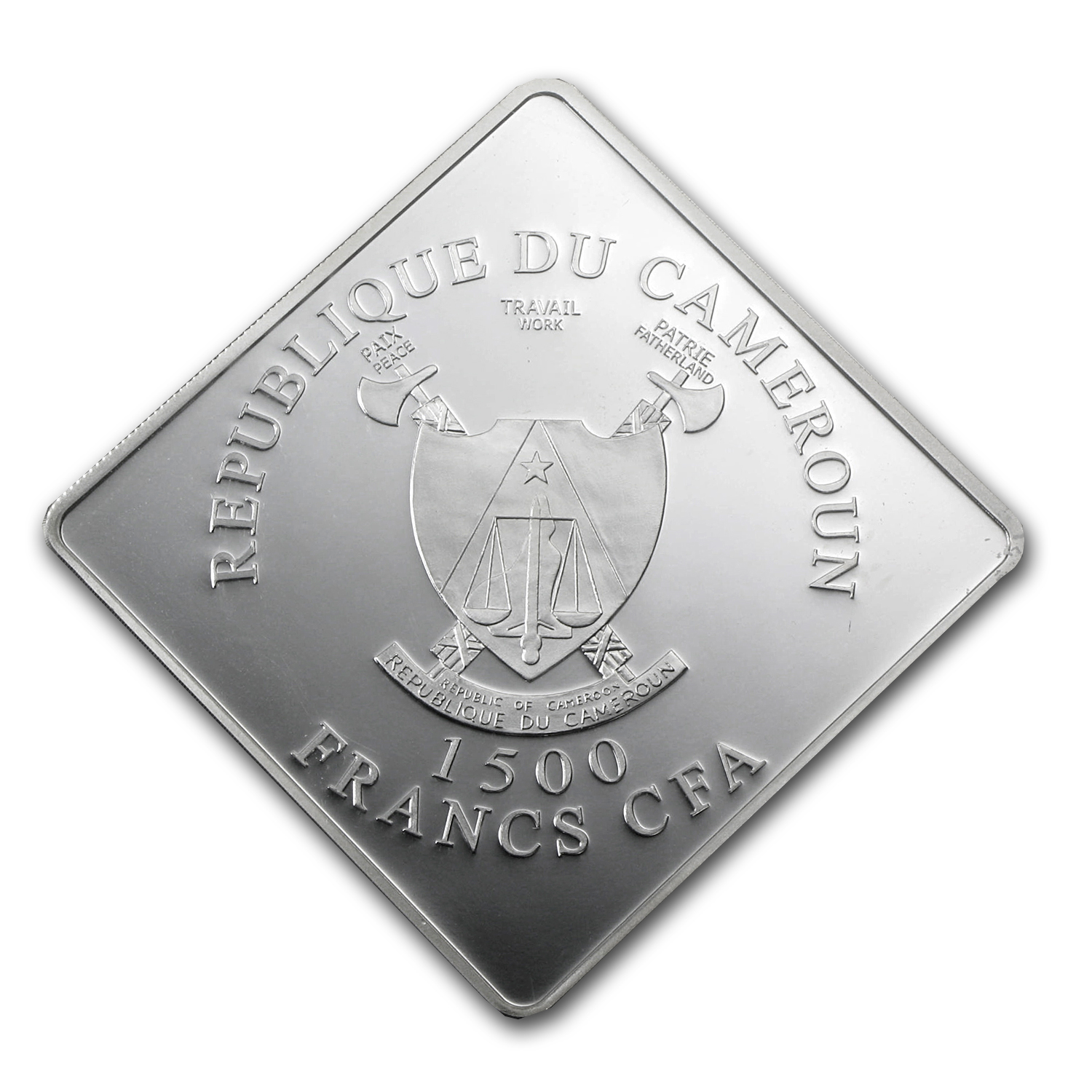 2010 Cameroon 2 oz Silver 1500FR Black Rhino (Ruthenium Plated)