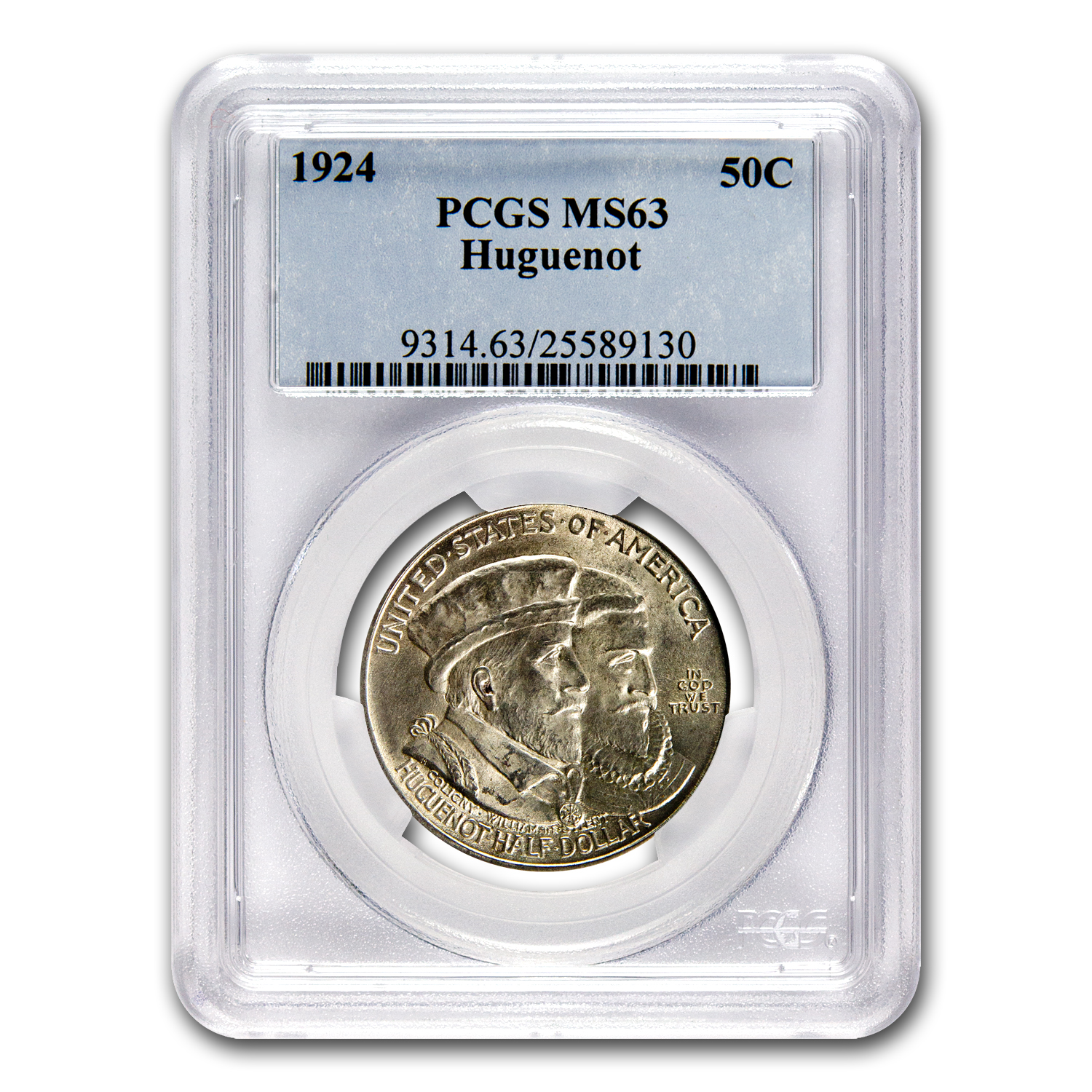 1924 Huguenot Commem Half Dollar MS-63 PCGS