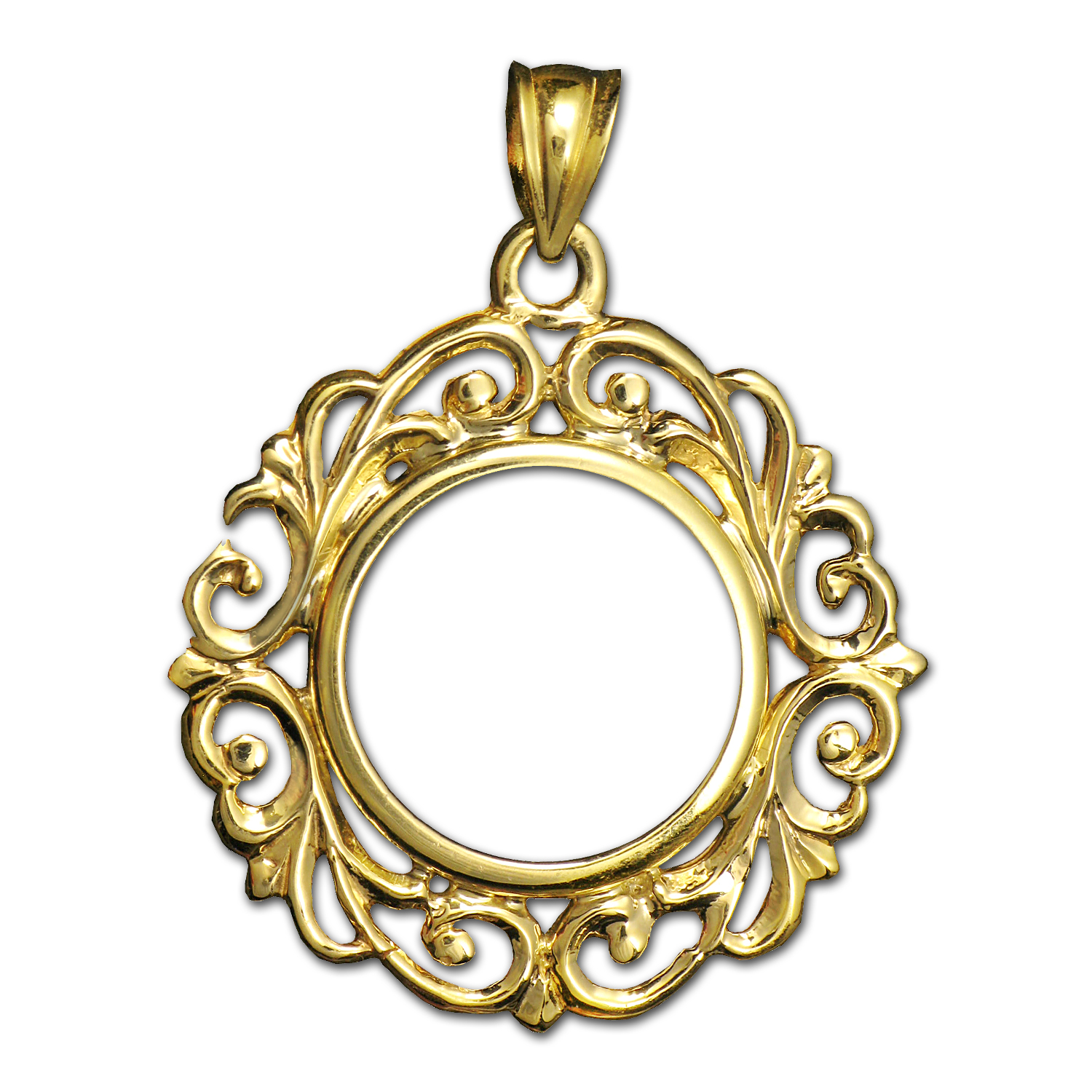 14K Gold Prong Fancy Filigree Coin Bezel - 14 mm