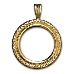 14K Gold Prong Polished Cable Bezel - 16.5 mm