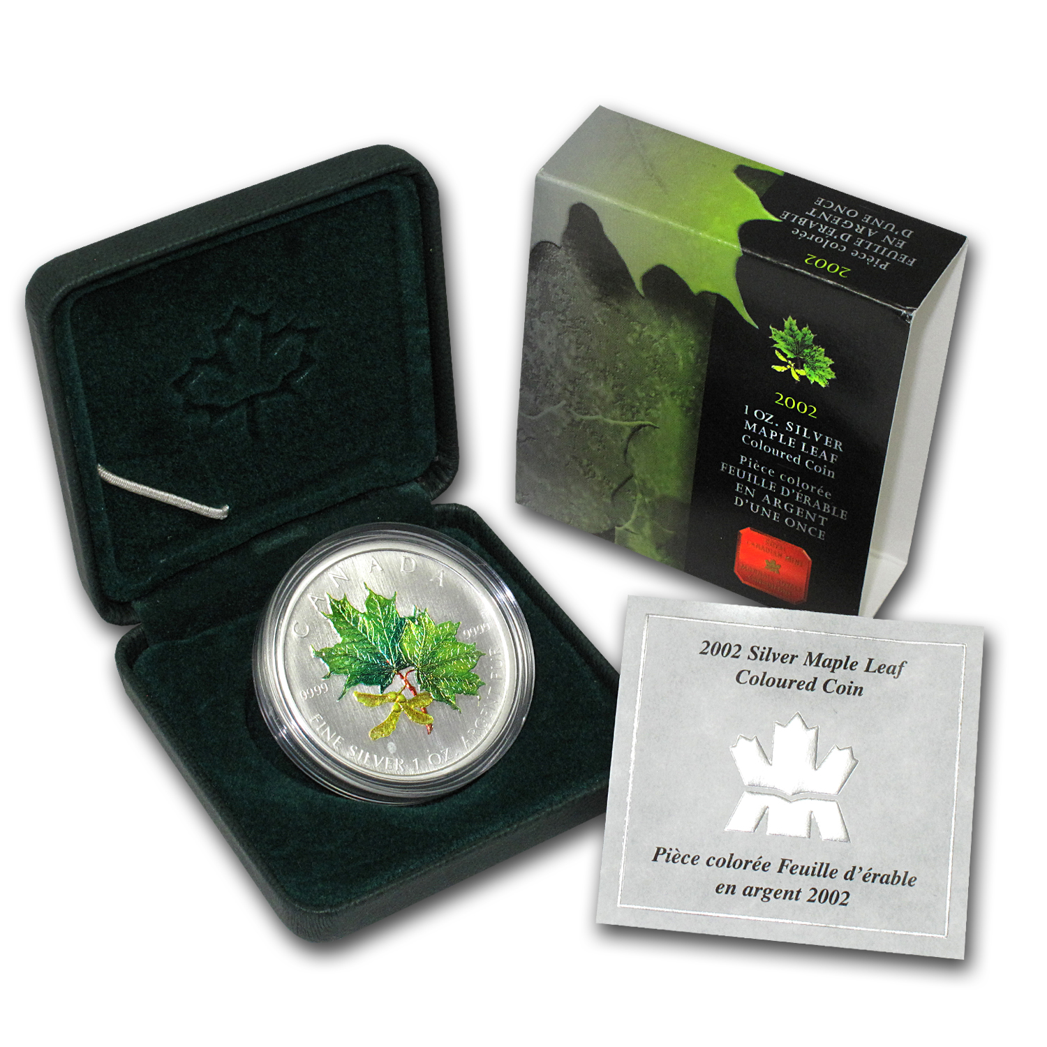 2002 1oz Silver Canadian Maple Leaf - Summer Colors (W/Box & COA)