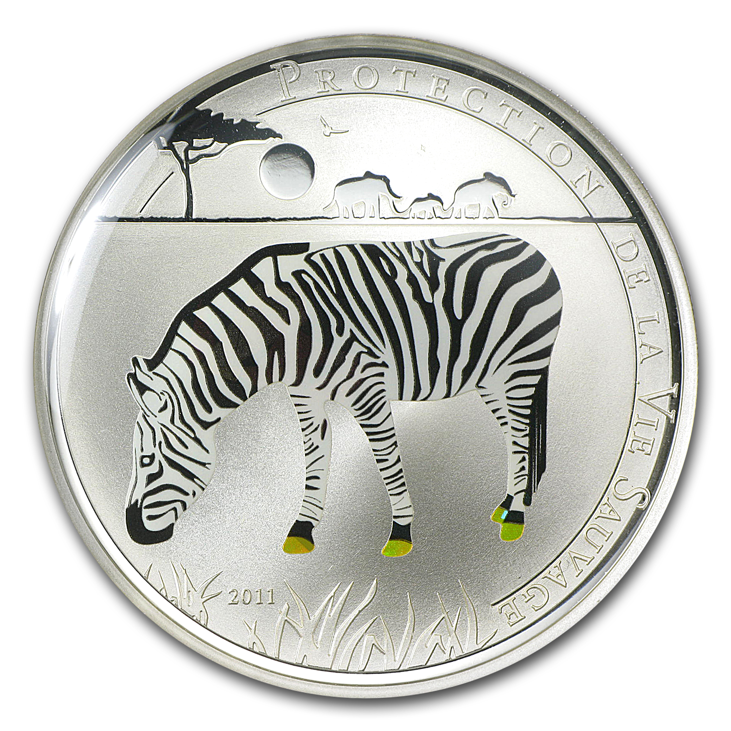 2011 Togo Silver 1000FR CFA Wildlife Protection Zebra Prism