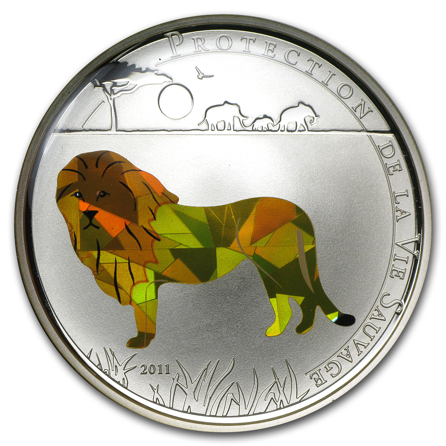 2011 Togo Silver 1000FR CFA Wildlife Protection Lion Prism