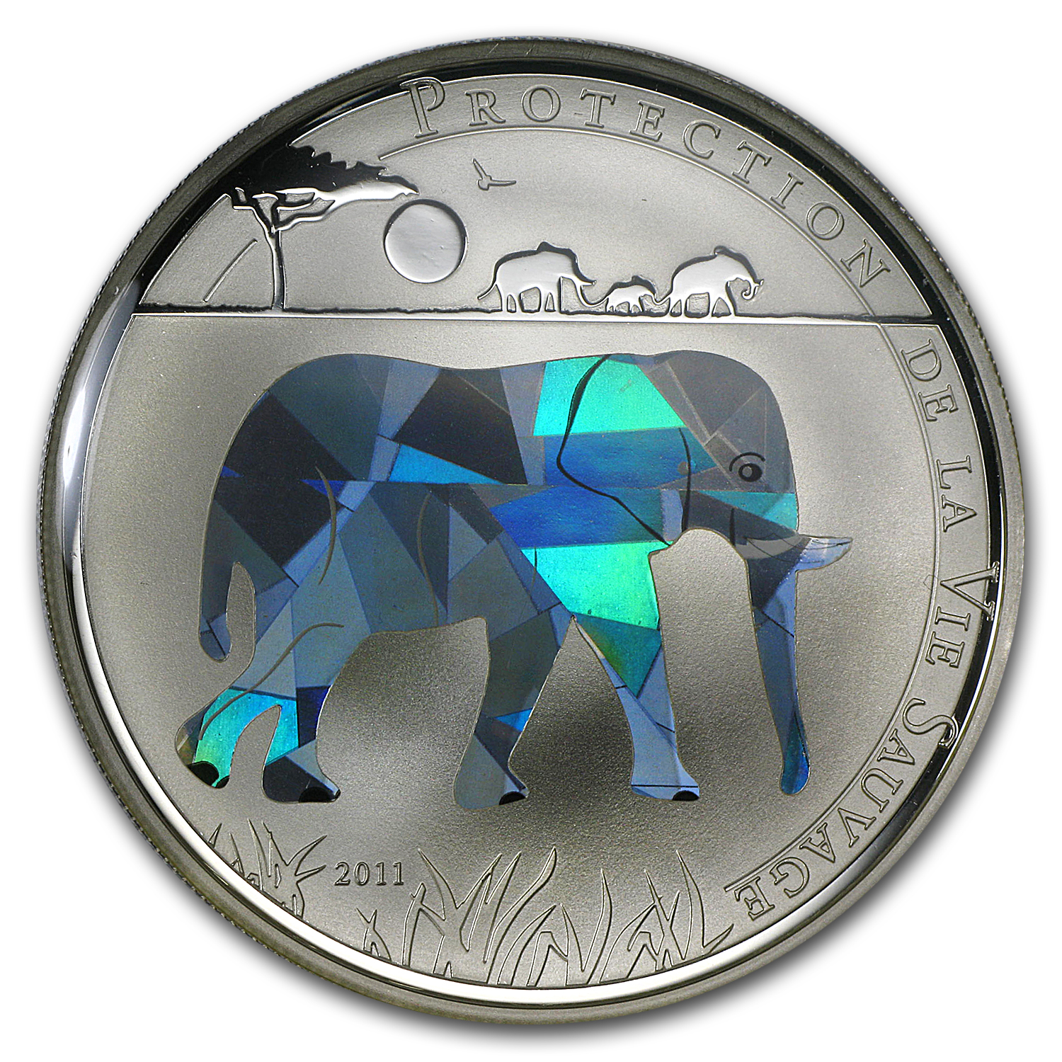 2011 Togo Silver Wildlife Protection Elephant Prism Proof