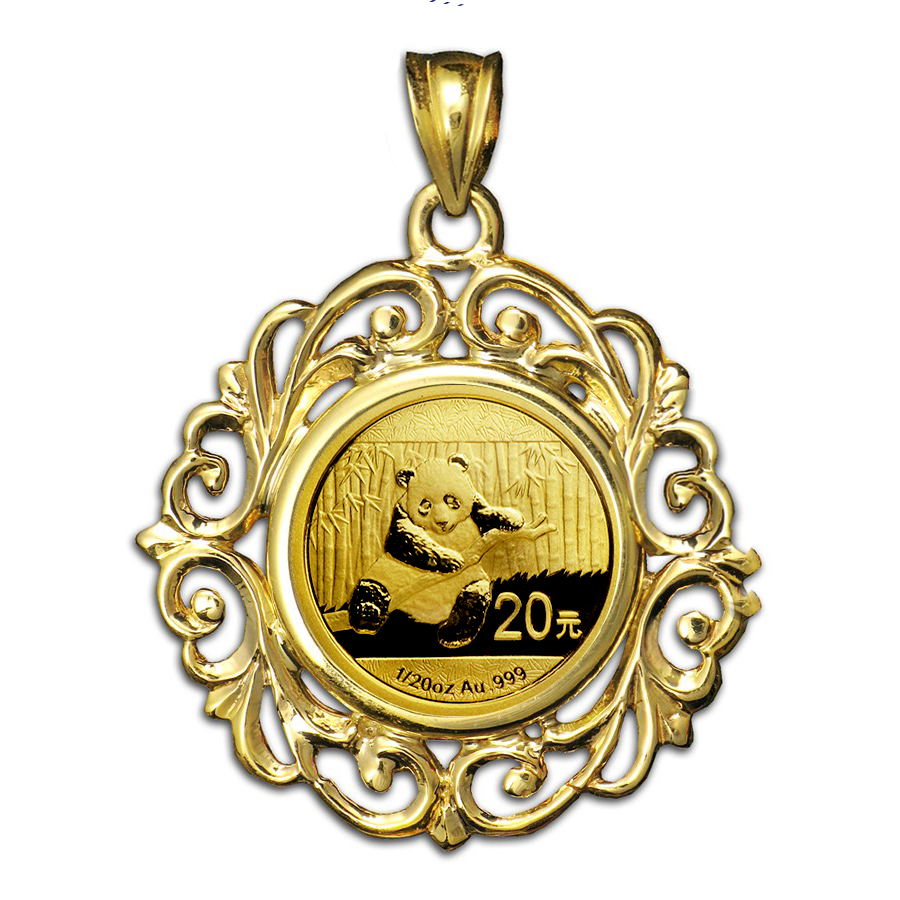 2014 1/20 oz Gold Panda Pendant (Fancy Filigree-Prong Bezel)