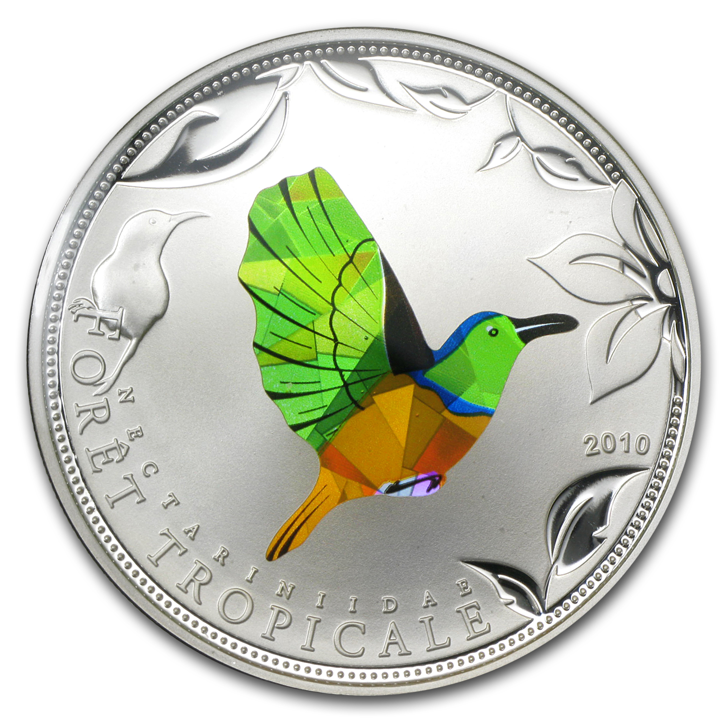 Togo 2010 Proof Silver Rainforest Wildlife - Green Sunbird Prism