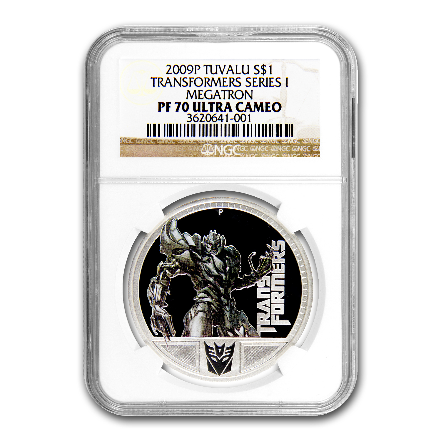 2009 1oz Proof Silver Megatron- 1st Transformer - NGC PF-70 UCAM