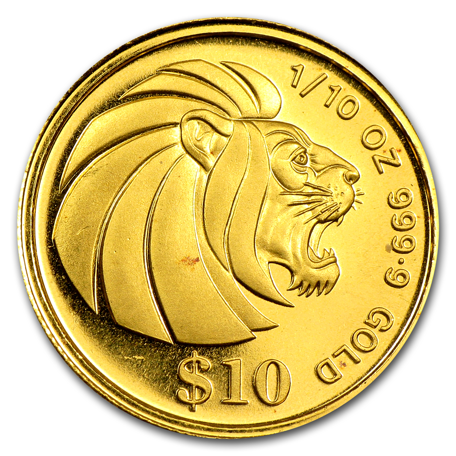 Singapore $10 Gold 1/10 Oz Proof/BU Lion