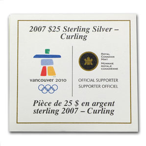 2007 Canada Silver $25 Olympic Curling (Hologram, w/Box & COA)