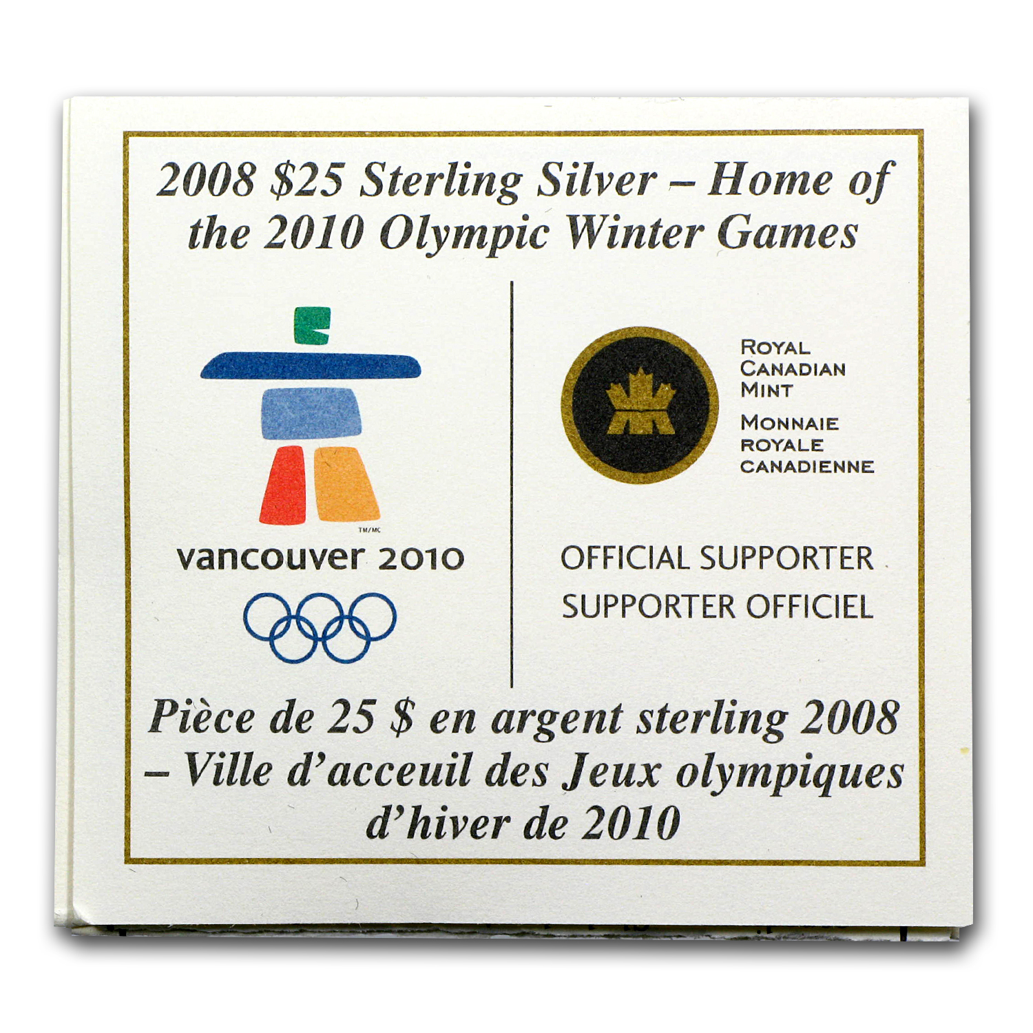 2008 Silver Canadian $25 Olympic Venue Hologram (Box & COA)