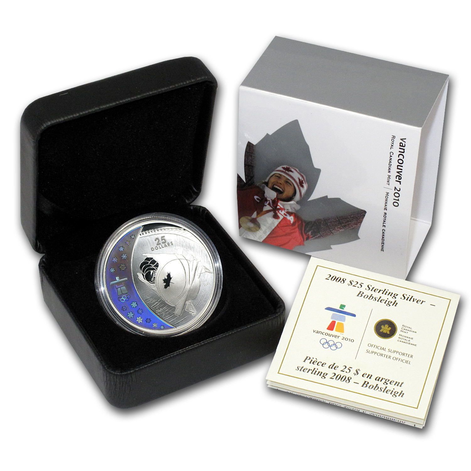 2008 Can Silver $25 Olympic Bobsleigh (Hologram, w/Box & COA)