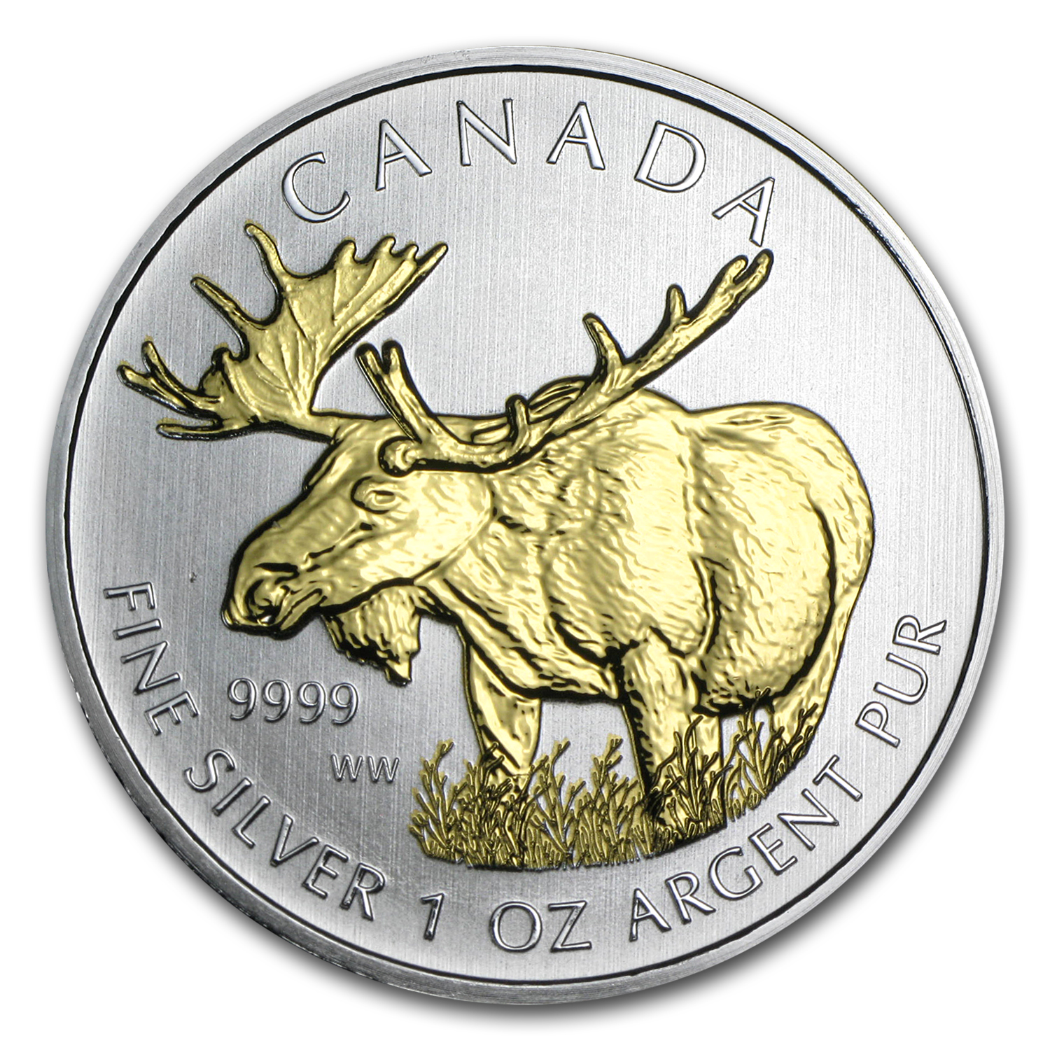2012 1 oz Silver Canadian Wildlife Series Moose (Gilded)