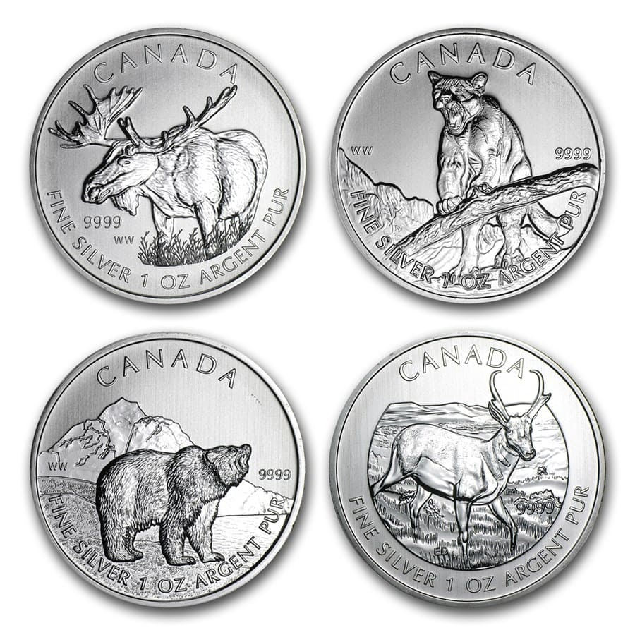 1 oz Silver Canadian Wildlife Series (Random Year, Light Spots)