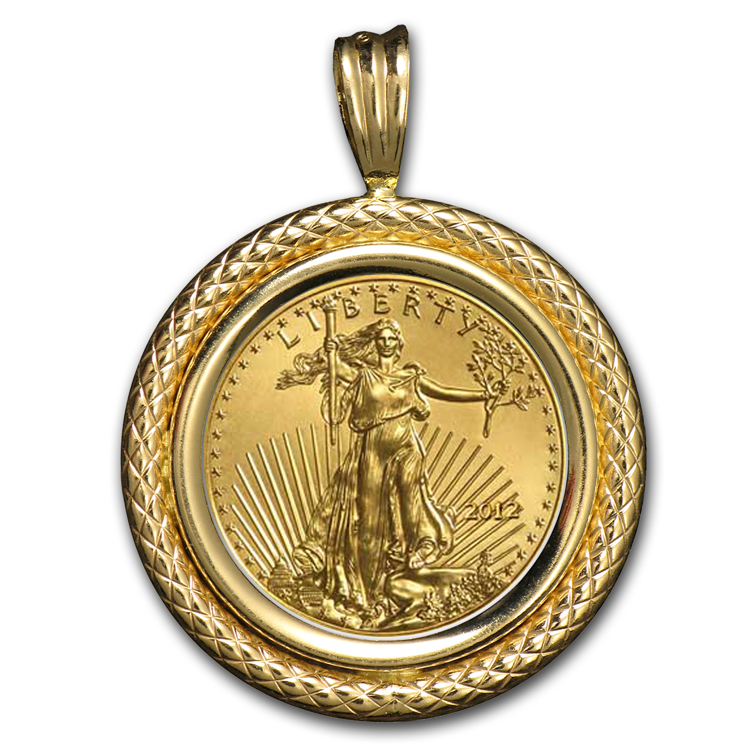 2014 1/10 oz Gold Eagle Pendant (Polished Cable-Prong Bezel)