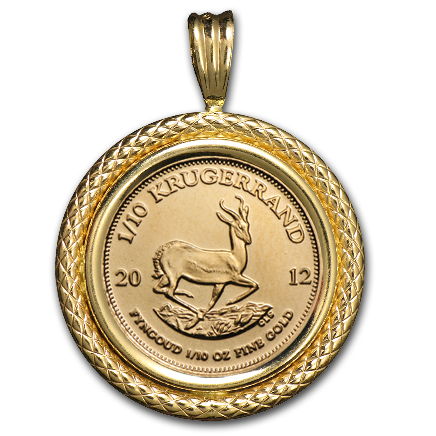 2014 1/10 oz Gold Krugerrand Pendant (Polished Cable-Prong Bezel)