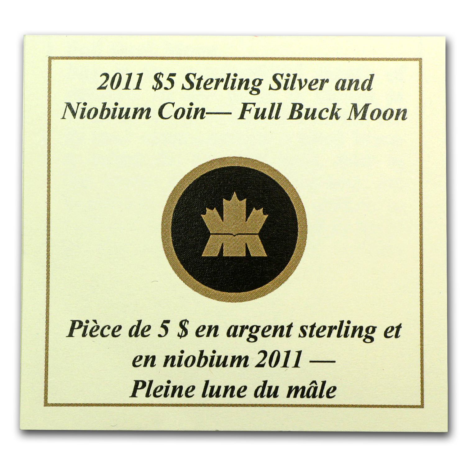 2011 Canada Silver & Niobium $5 Full Buck Moon (w/Box & COA)