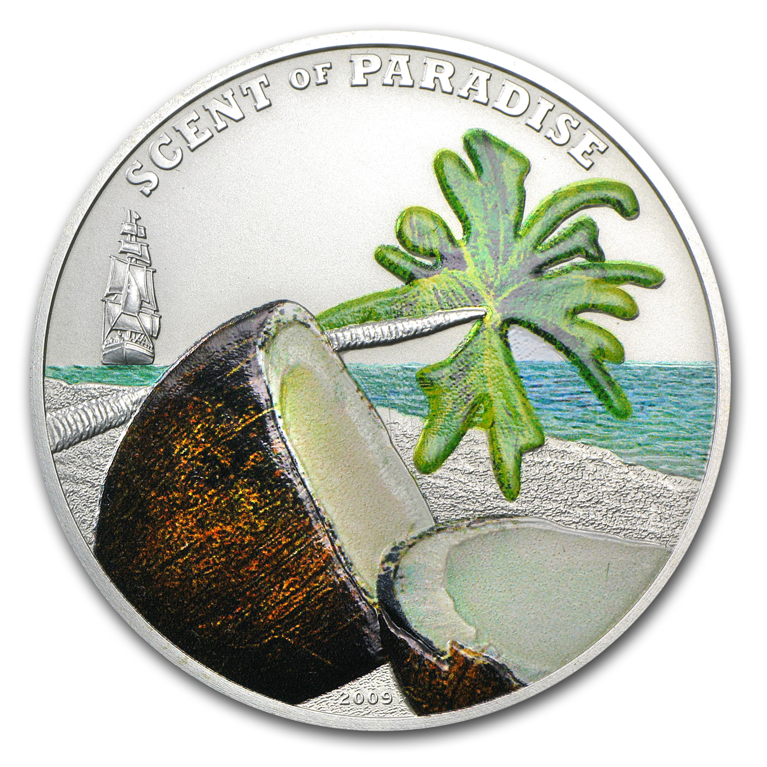 2009 Palau Silver $5 Scent of Paradise Coconut