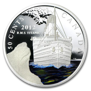 2012 RMS Titanic $0.50 Silver-Plated Copper Proof Color (Box&COA)