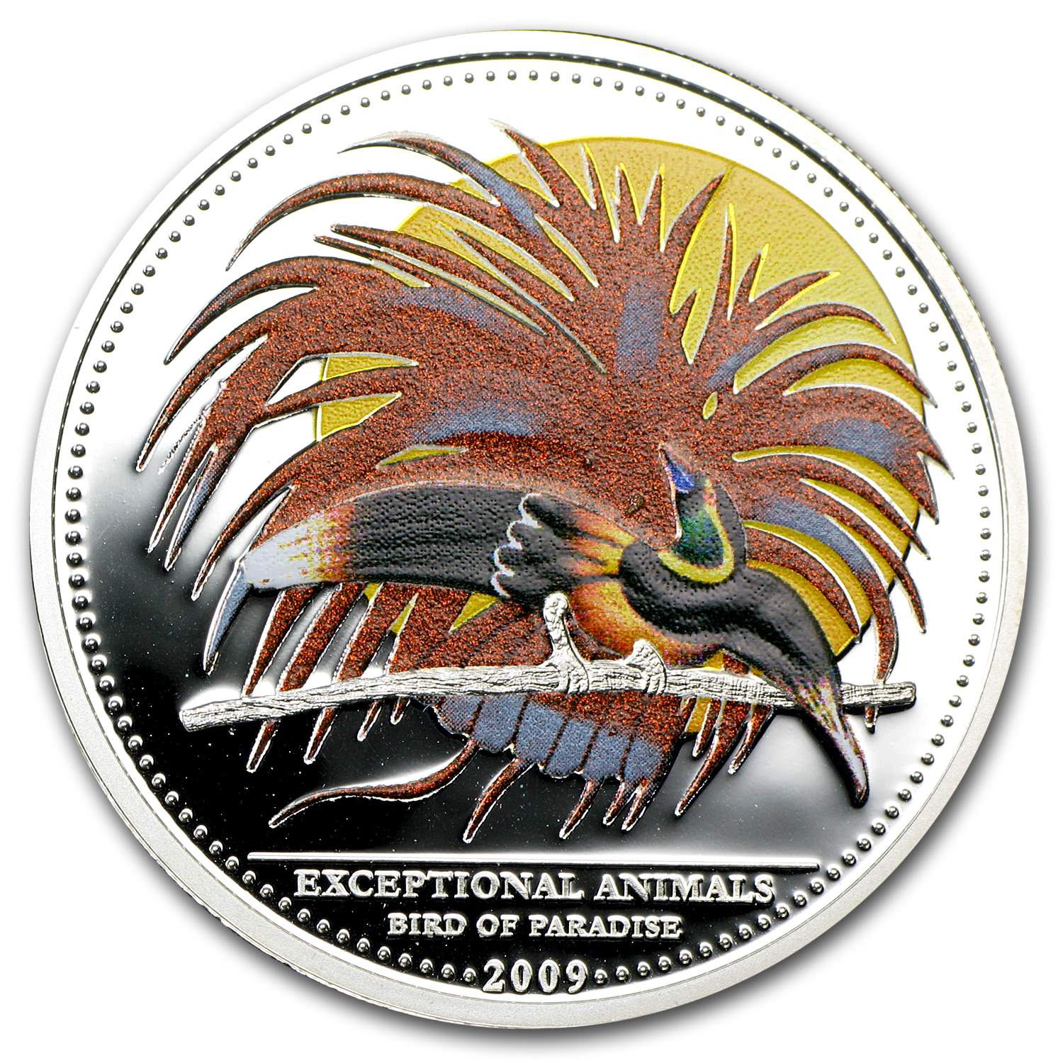 2009 Palau Silver $5 Exceptional Animals Bird of Paradise