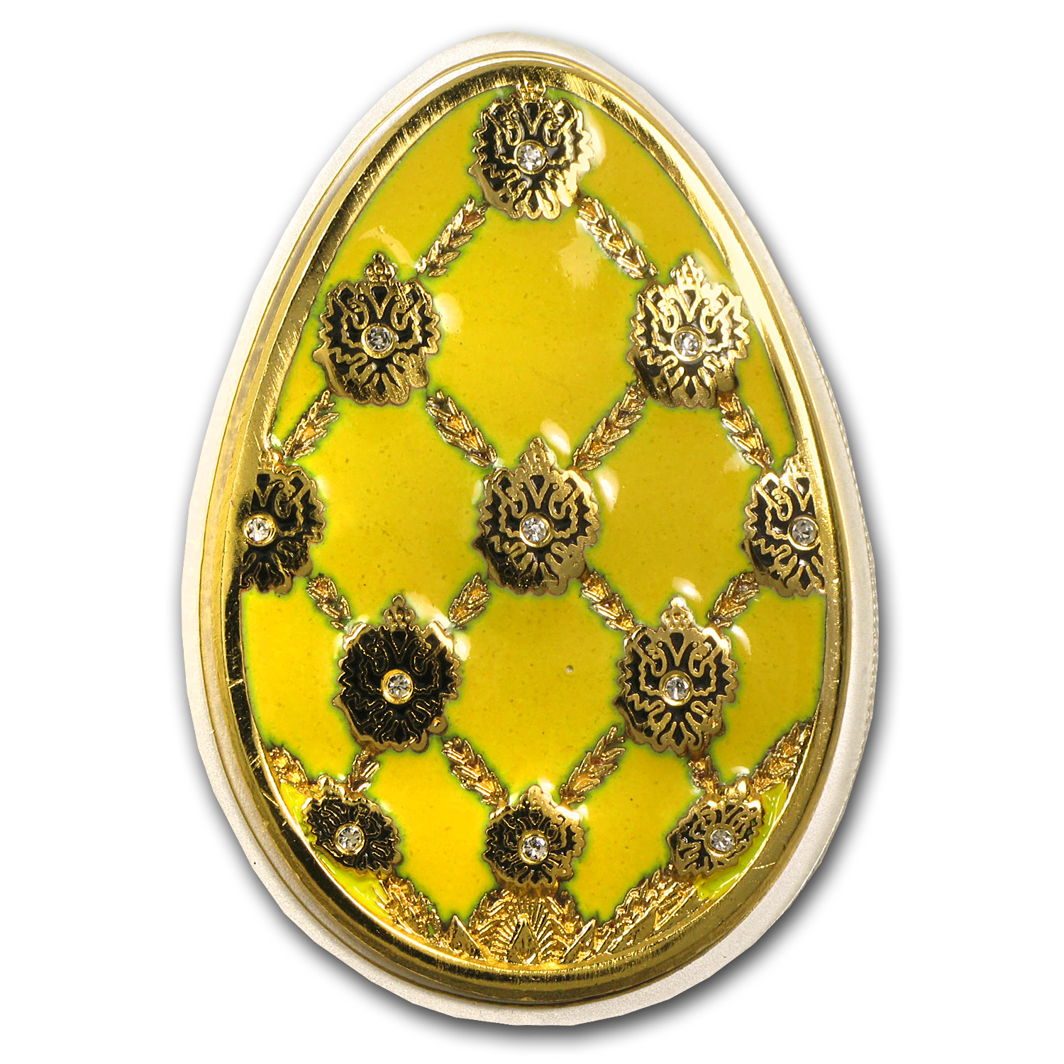 2010 Cook Islands Proof Silver Imperial Egg in Cloisonné Yellow