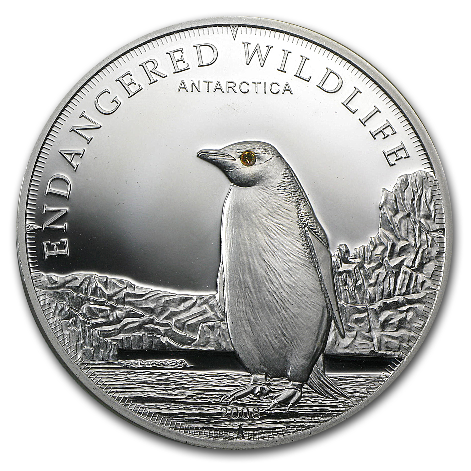 2008 Cook Islands Proof Silver $5 Endangered Wildlife Penguin