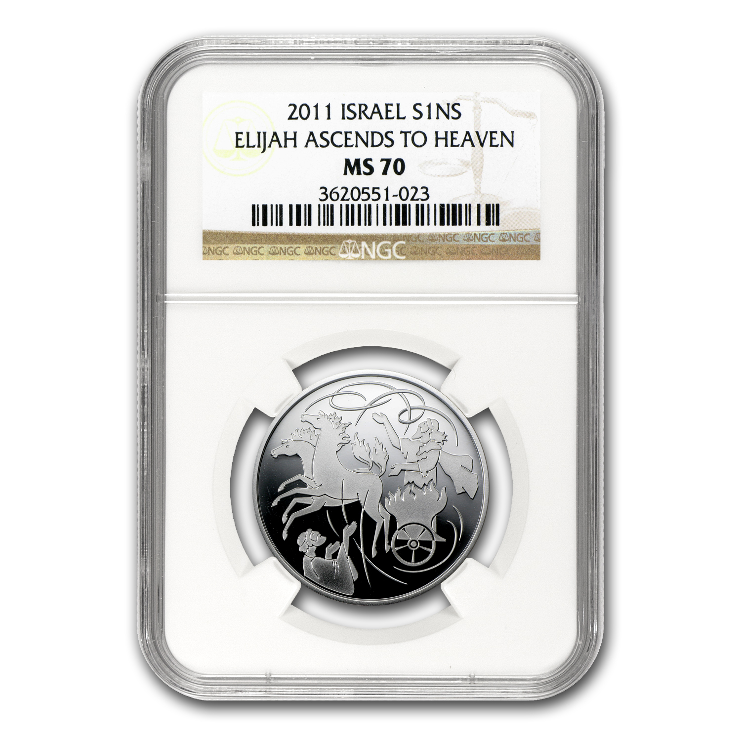 2011 Israel Silver 1 NIS Elijah in the Whirlwind MS-70 NGC