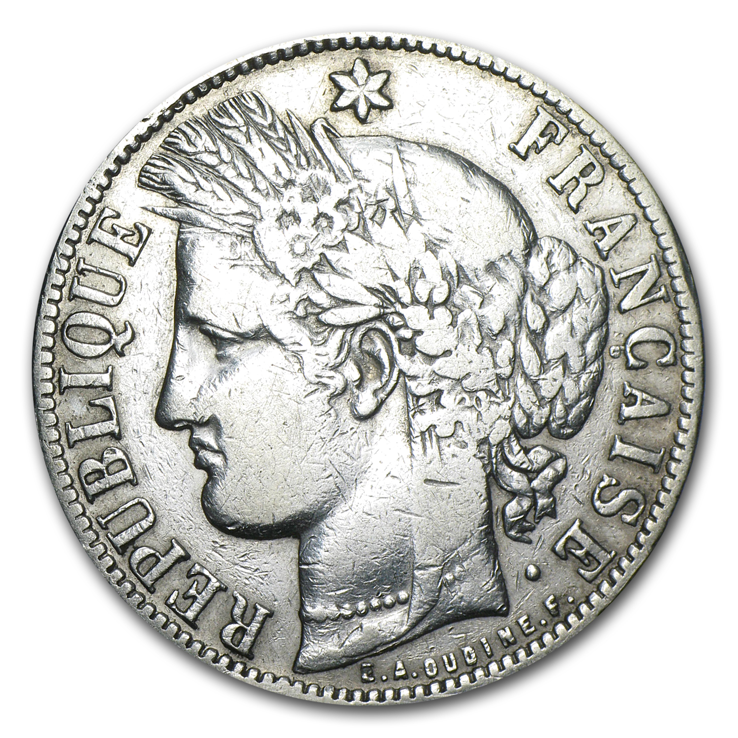 1870-1871 France Silver 5 Francs Ceres Head No Motto Avg Circ
