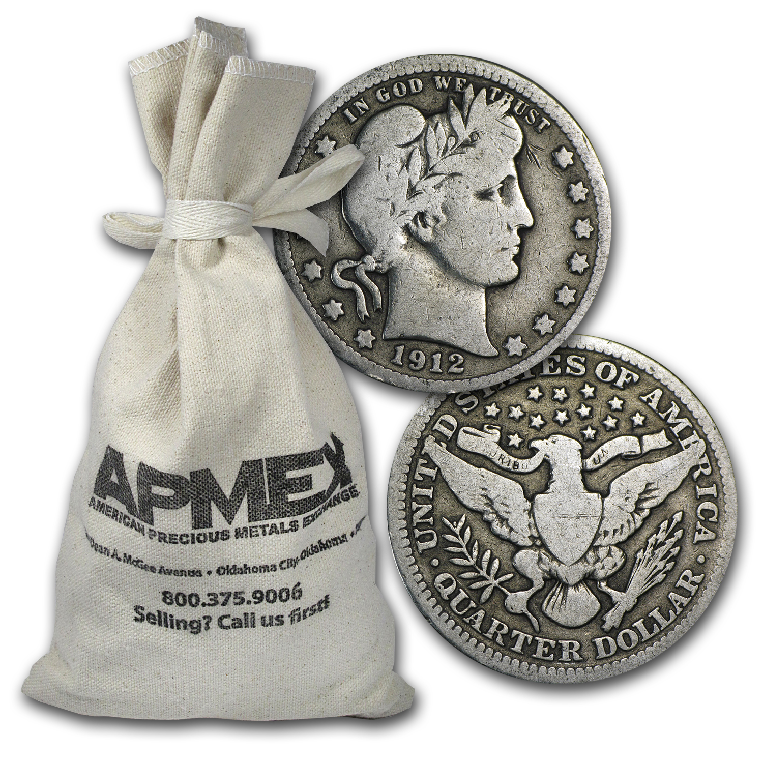 90% Silver Barber Quarter-Dollars - $500 Face-Value Bag