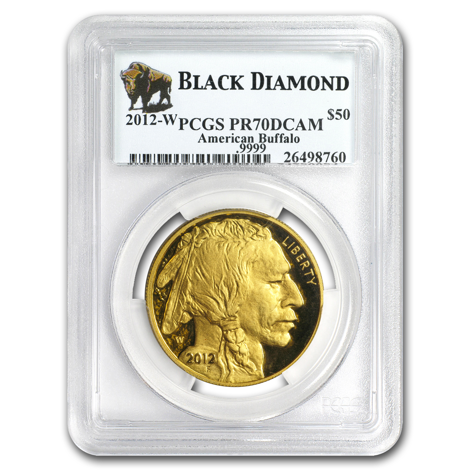 2012-W 1 oz Proof Gold Buffalo PR-70 PCGS (Black Diamond)