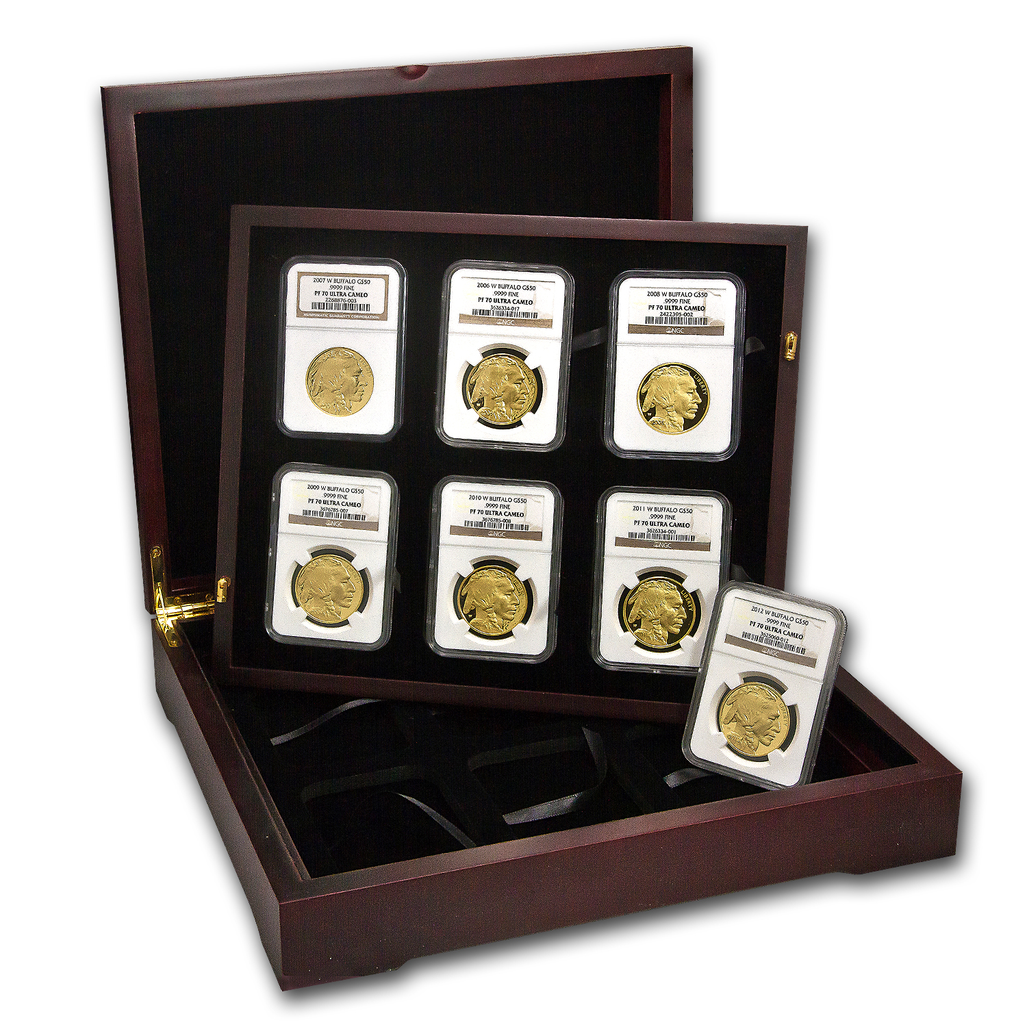 2006-2012 10-Coin Proof Gold Buffalo Set PF-70 NGC (Registry Set)