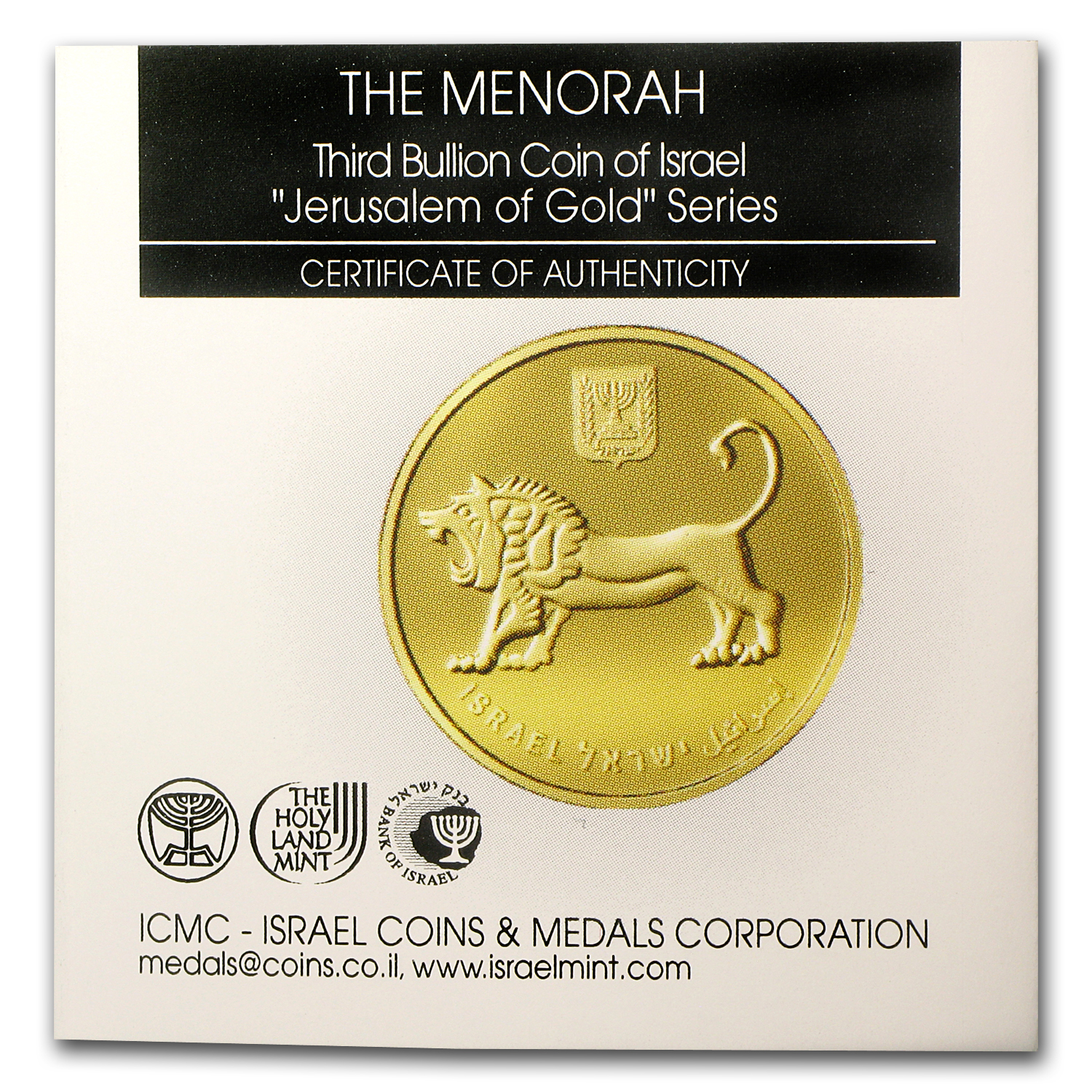 2012 Israel 1 Oz Gold Menorah Bu Holy Land Mint Of