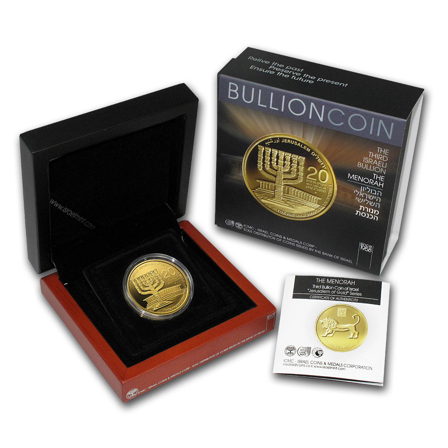 2012 Israel Menorah 1 oz .9999 Fine Gold Bullion Coin