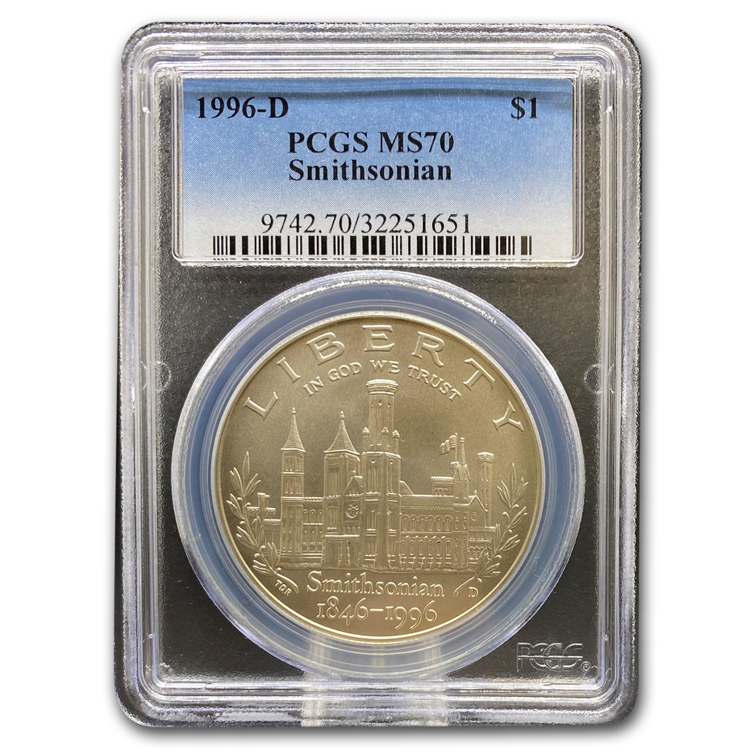 1996-D Smithsonian $1 Silver Commemorative MS-70 PCGS