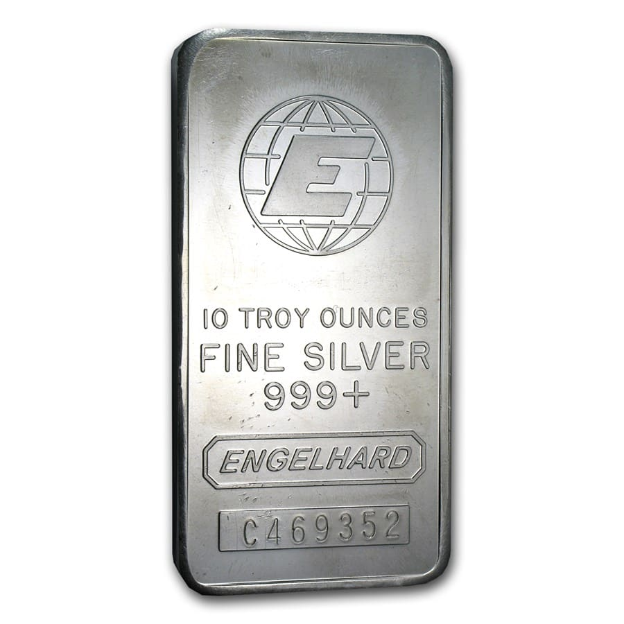 10 oz Silver Bar - Engelhard (Tall-E Logo)