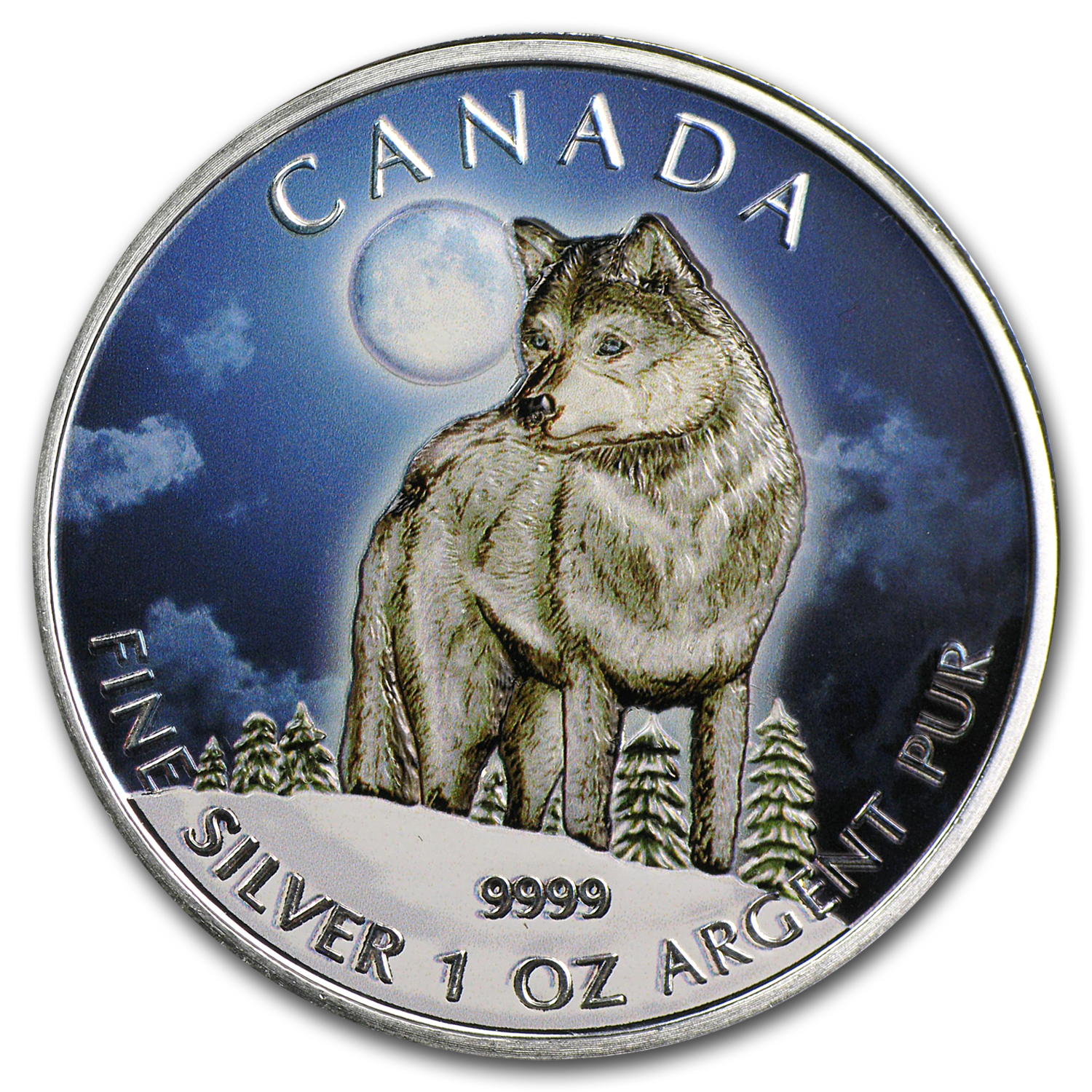 2011 1 oz Silver Canadian Wildlife Series Wolf (Full Colour)