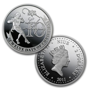Niue 2011 Proof Silver $2 The Twelve Days of Christmas Coin Set