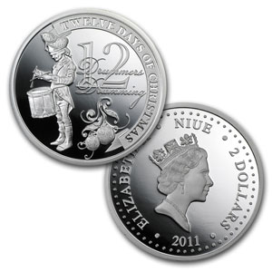 2011 Niue Proof Silver $2 The Twelve Days of Christmas Set