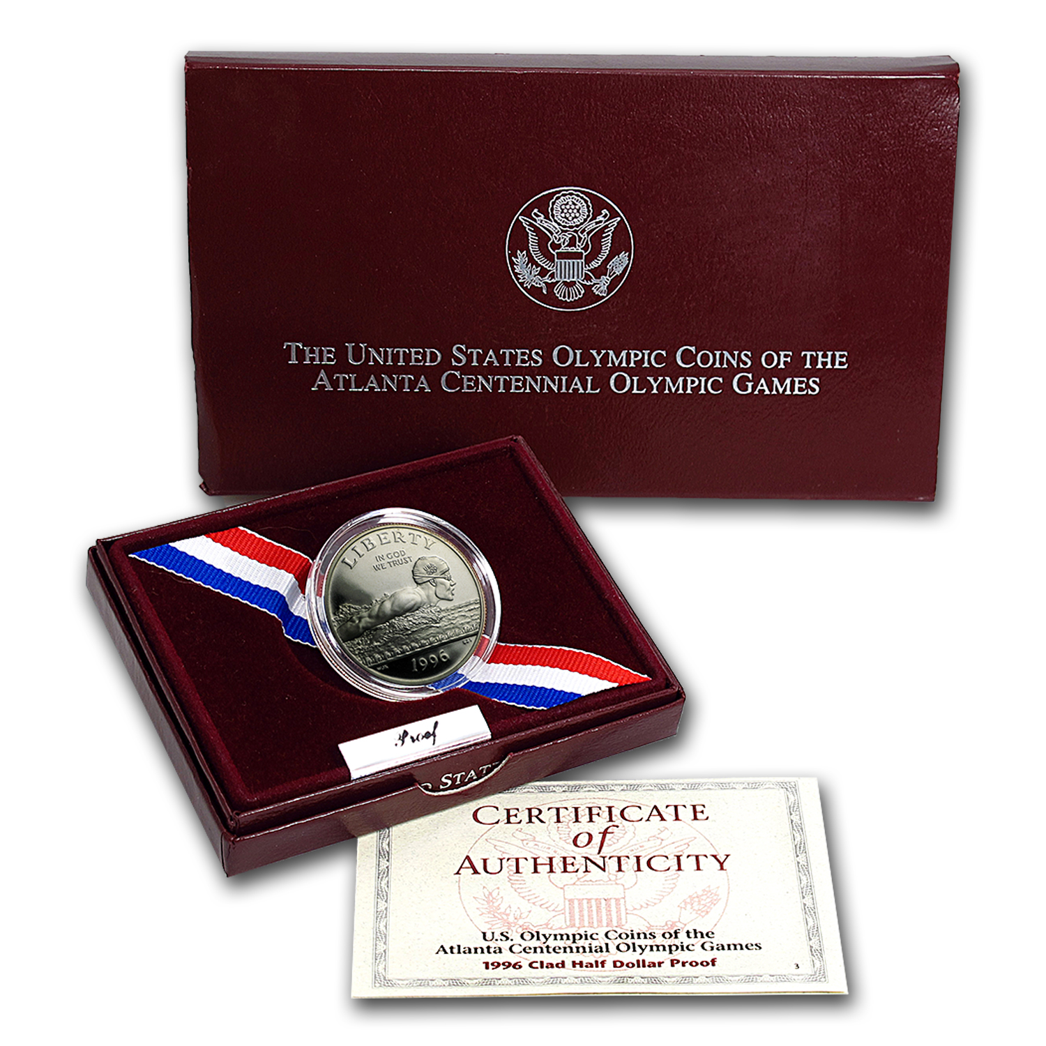 1996-S Olympics 1/2 Dollar Clad Commem Prf (Swimming, Box/COA)