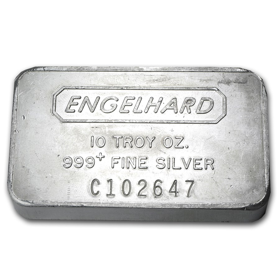 10 Oz Silver Bar Engelhard Wide Struck Frosted Back