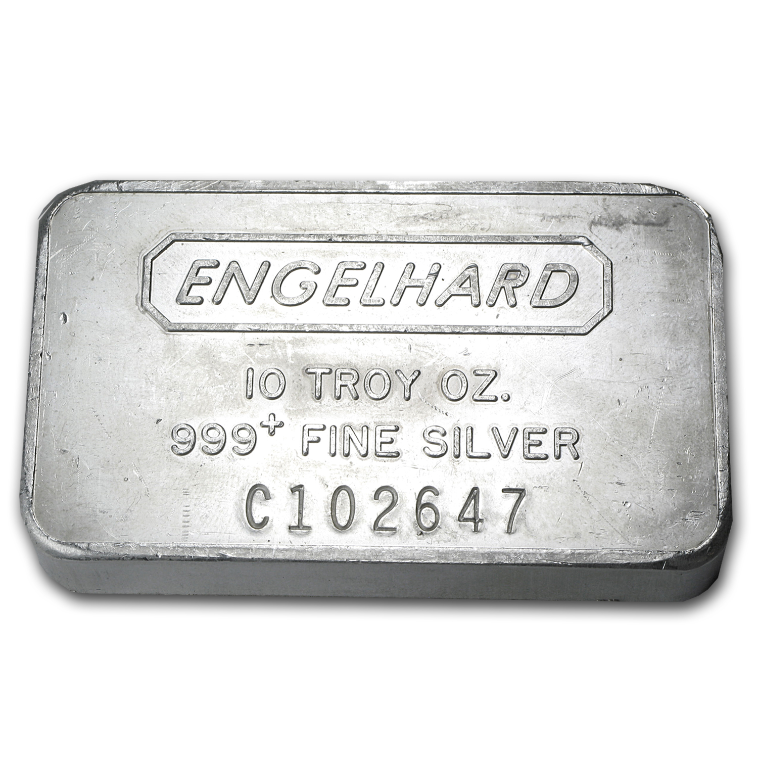 10 oz Silver Bars - Engelhard (Wide/Struck/Frosted Back)