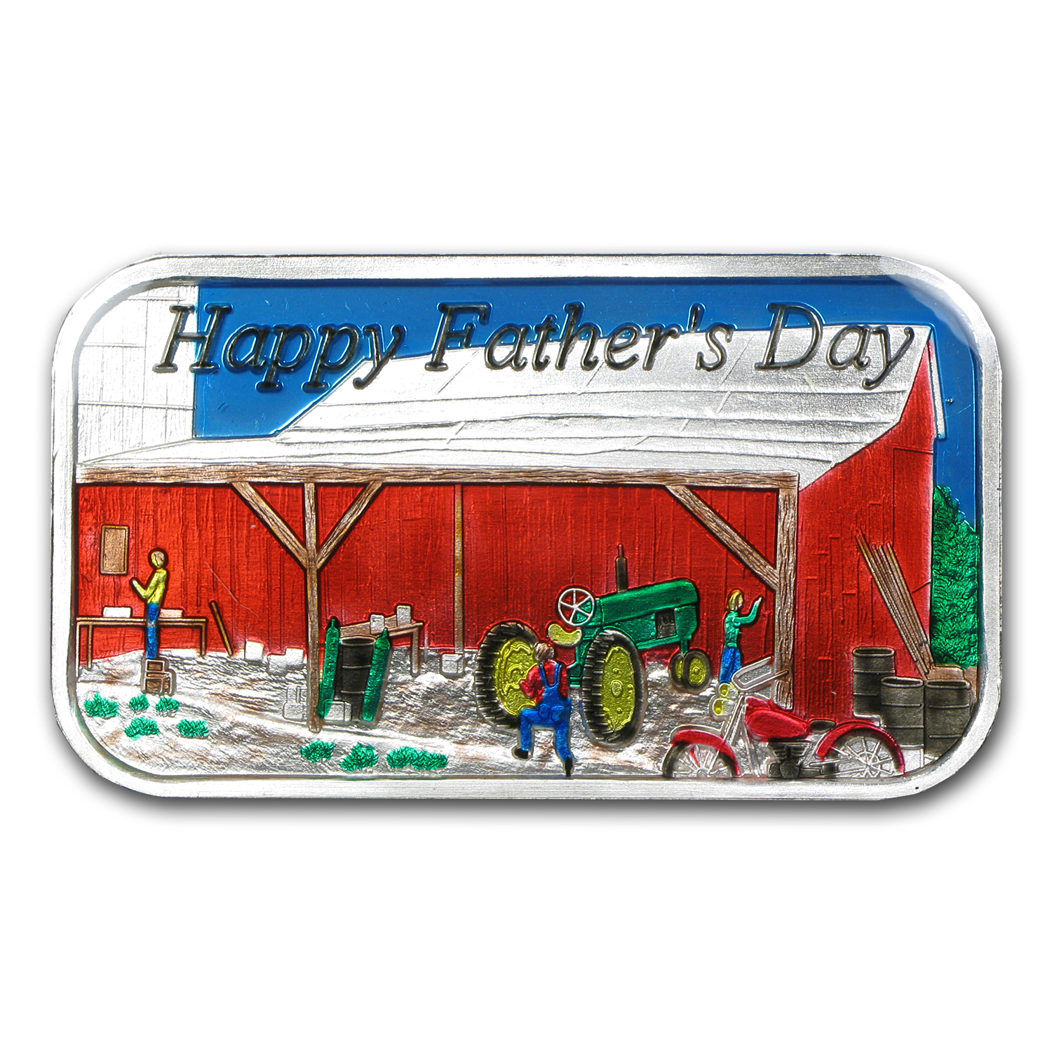 1 oz Father's Day Enameled Silver Bar (w/Gift Box & Capsule)