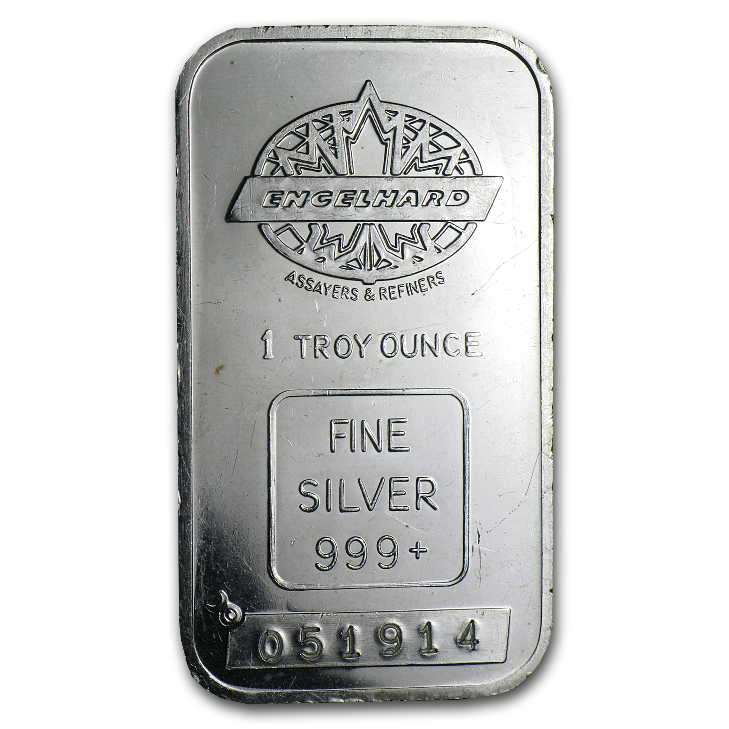 1 oz Silver Bar - Engelhard (Tall/Maple/Smooth/w/out Border)
