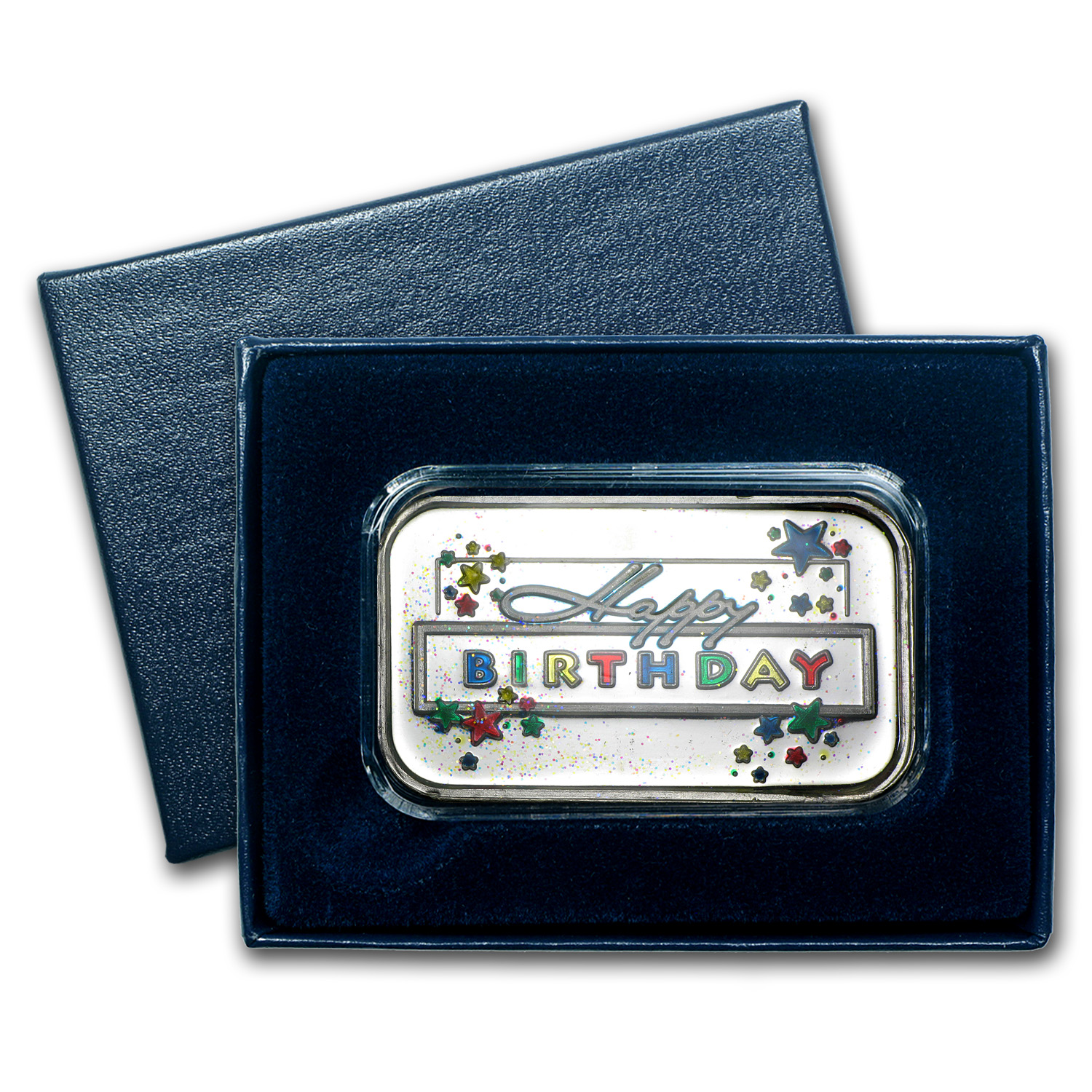 1 oz Silver Bar - Happy Birthday Star (Enameled, w/Box & Cap)