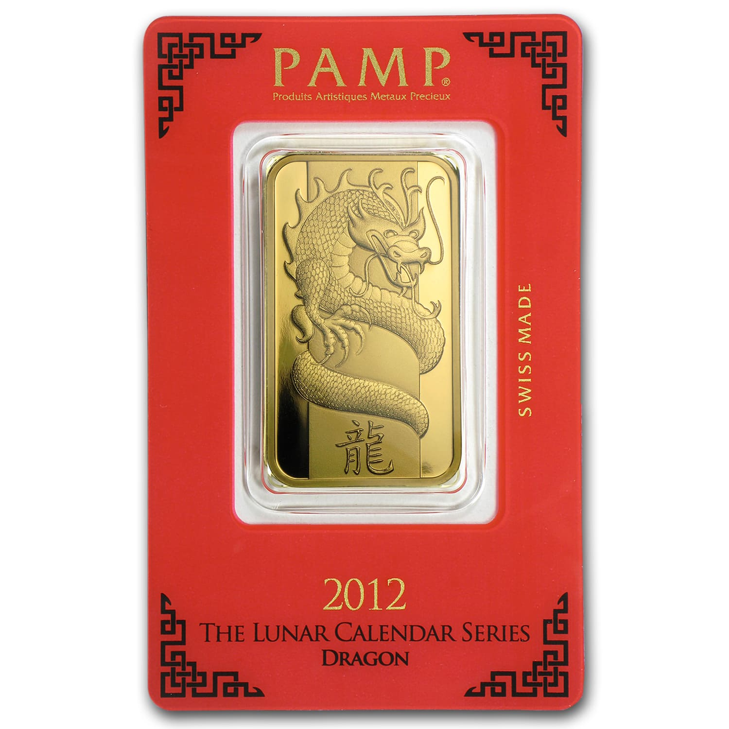 1 oz Gold Bar - Pamp Suisse (Year of the Dragon, in Assay)