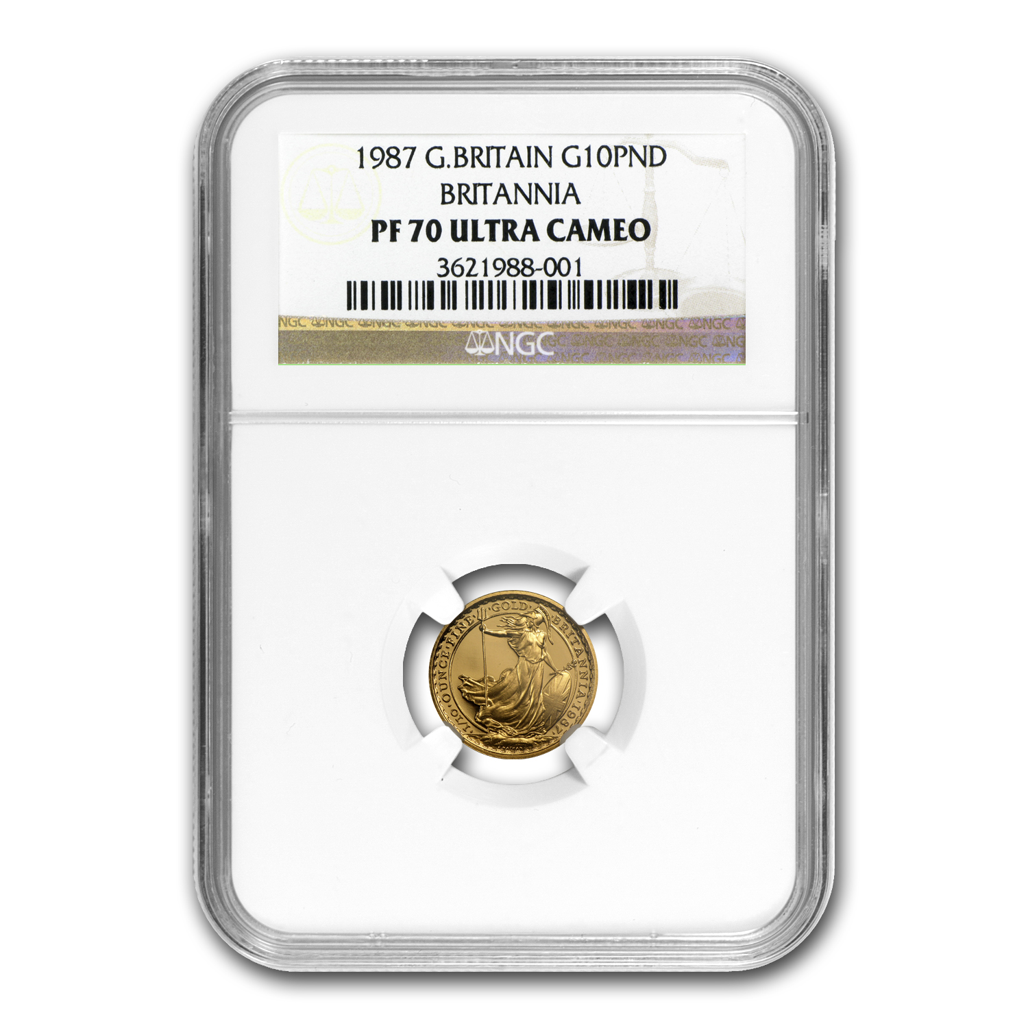 1987 1/10 oz Proof Gold Britannia PF-70 NGC