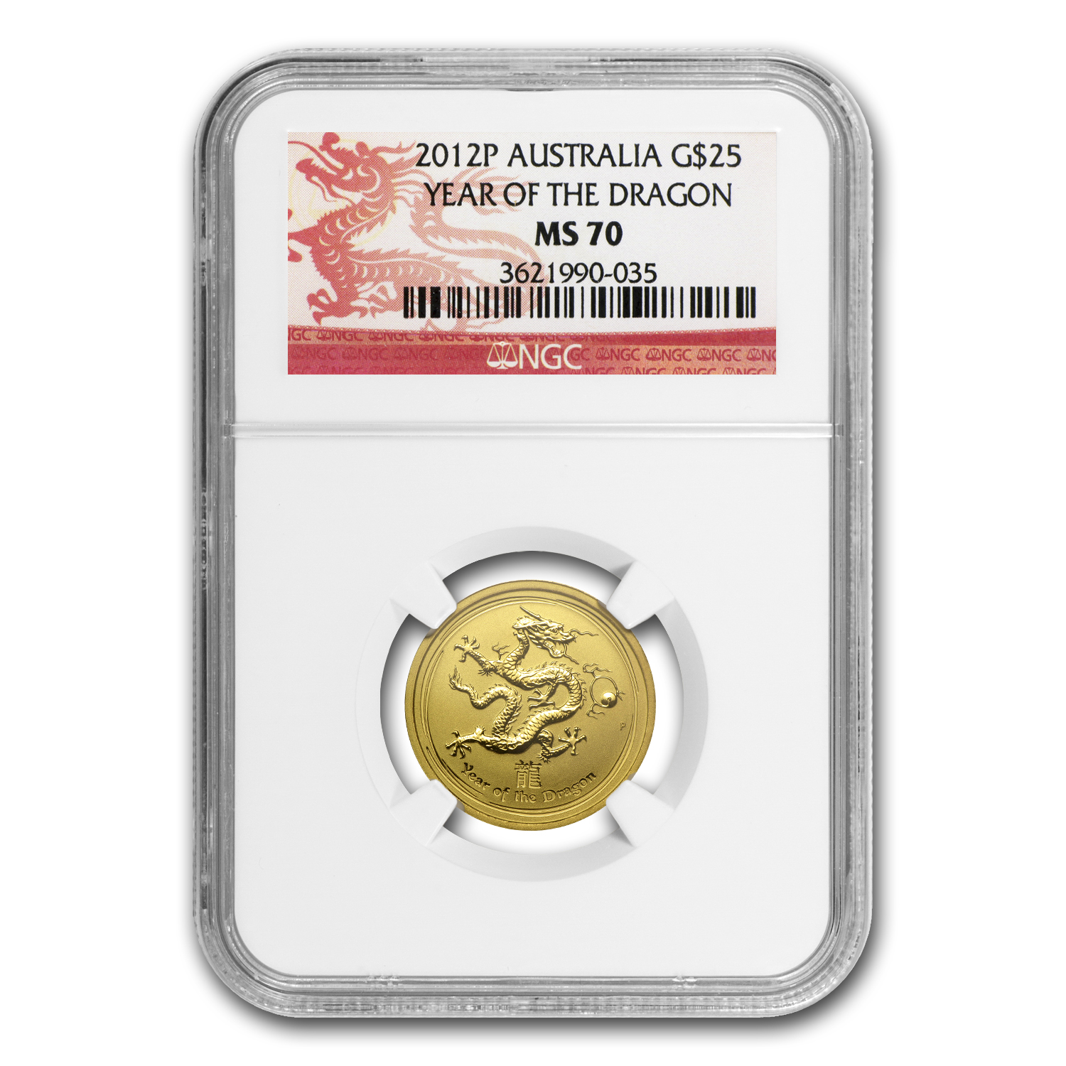 2012 1/4 oz Gold Lunar Year of the Dragon MS-70 NGC (Series II)