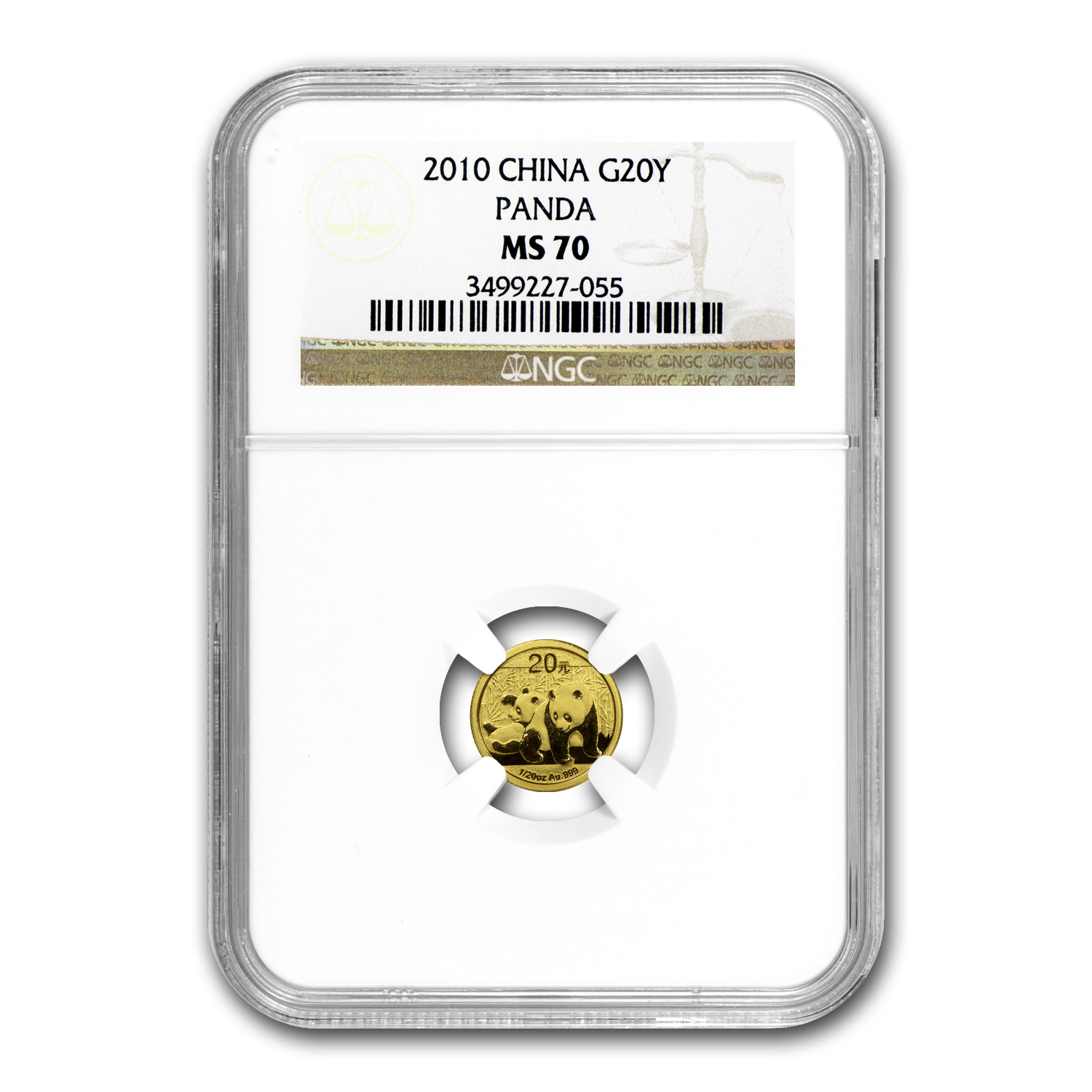 2010 China 1/20 oz Gold Panda MS-70 NGC