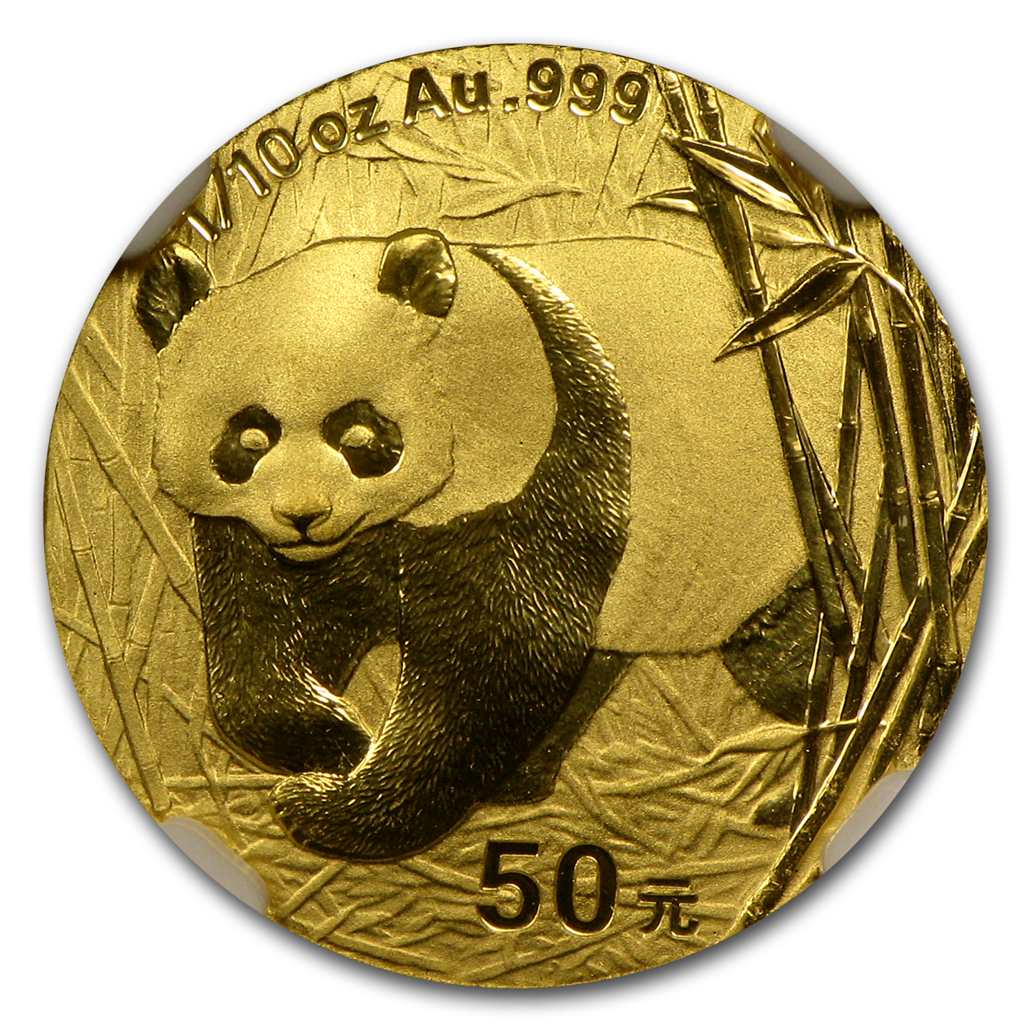2001 (1/10 oz) Gold Chinese Pandas - MS-69 NGC
