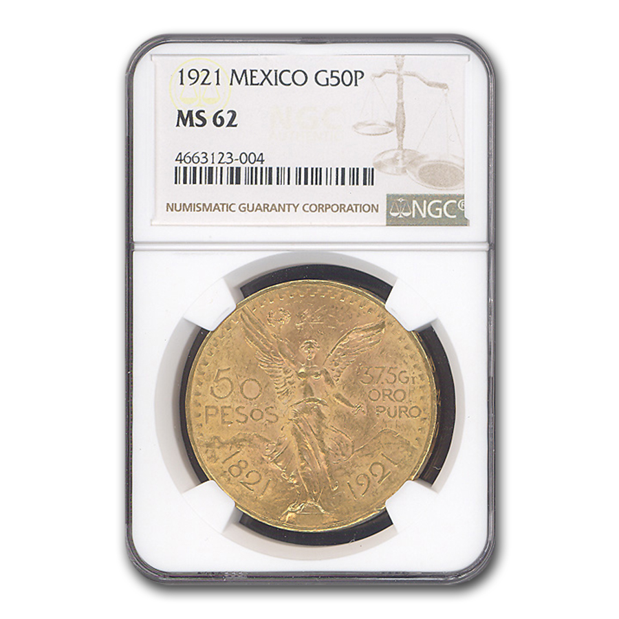 Mexico 1921 50 Pesos Gold Coin - MS-62 NGC