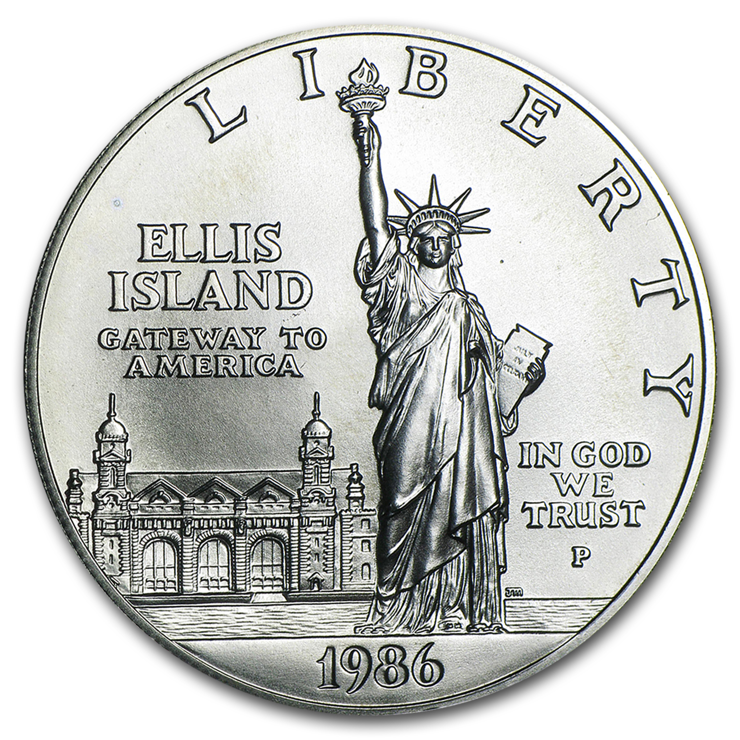1986-P Statue of Liberty $1 Silver Commem BU (w/Box & COA)